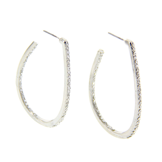 "2"" Oval Teardrop Hoop Earrings w/ Rhinestone - Silver - Charming Charlie"