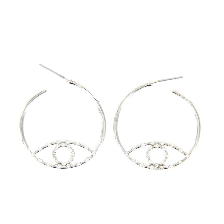 "1"" Evil Eye Metal Hoop Earrings w/ Rhinestone - Silver - Charming Charlie"