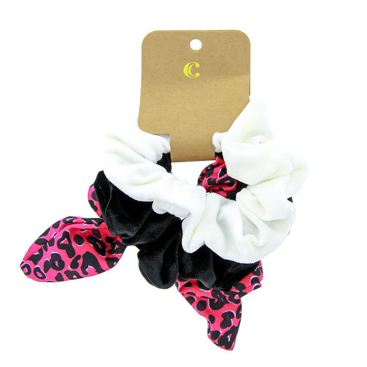 Styling Velvet Hair Scrunchies - Pack of 3, Pink Leopard - Charming Charlie