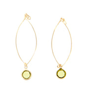 "2.5"" Open Wire Delicate Dangle Earrings - Green/Gold - Charming Charlie"