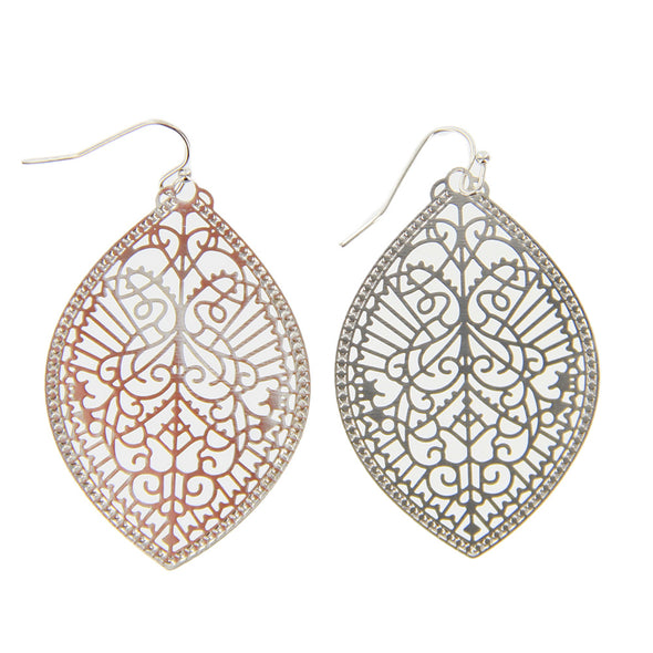 "2.5"" Stamped Filigree Marquise Drop Earrings - Silver - Charming Charlie"