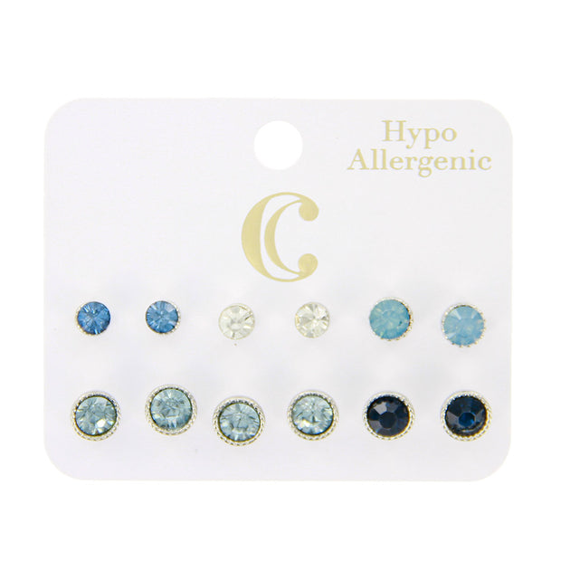Round Glass Post Stud Earring Set - 6 Pairs, Blue/Silver