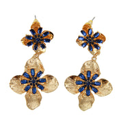 Rhinestone Flower Statement Dangle Earrings