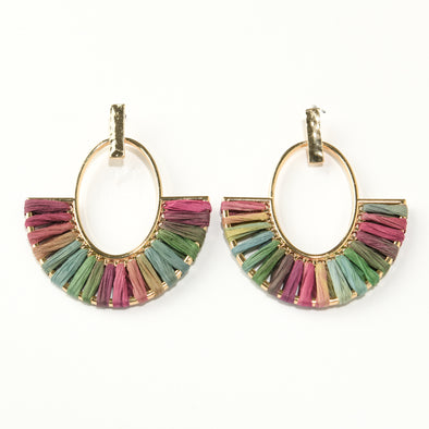 Raffia Threaded Statement Earring
