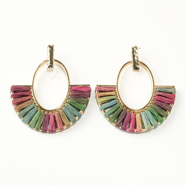 Raffia Threaded Statement Earrings
