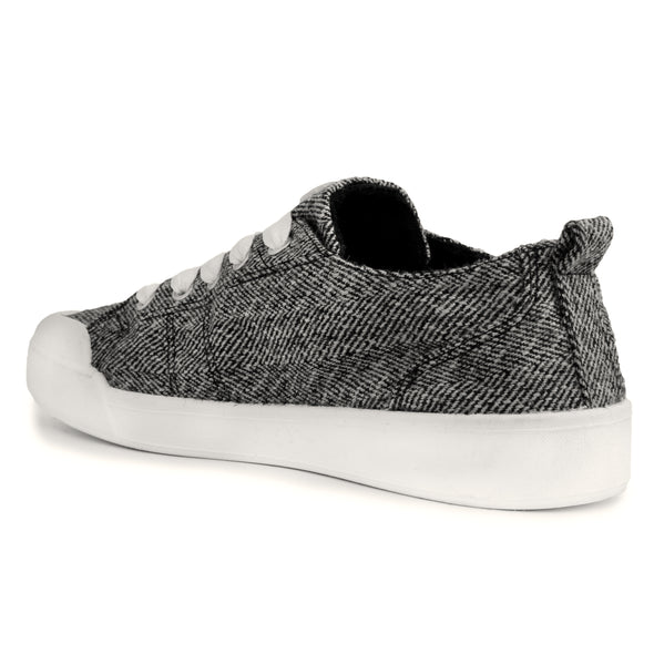 The Festival Black/White Herringbone Casual Tennis Shoe