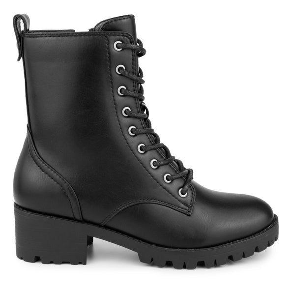 The Reggie Faux-Leather Lace Up Black PU Combat Boot