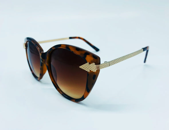 Metal Arrow Temple Detail Sunglasses - Brown & Gold