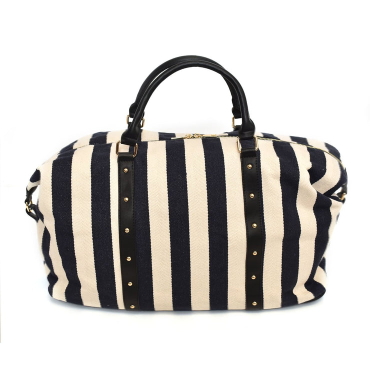 Striped Canvas Weekender Bag