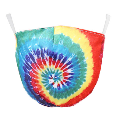 Medium Red Swirl Tie Dye Adjustable Face Mask
