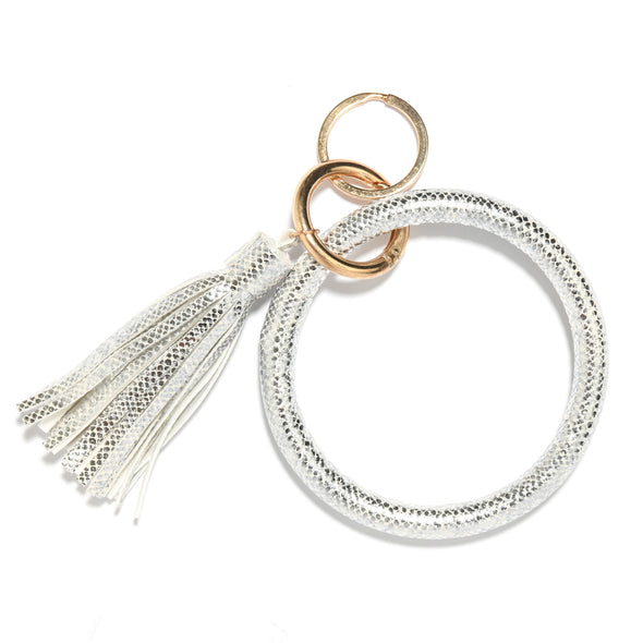 Metallic Bangle Keychain with Tassel