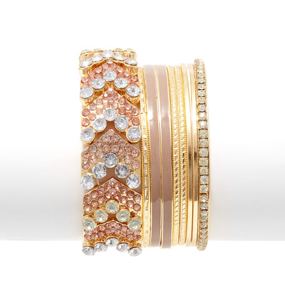 Rhinestone and Enamel Bangle Set