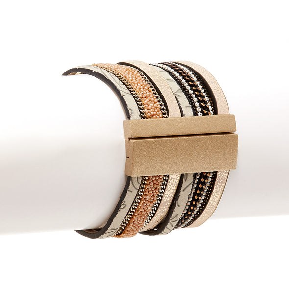 Faux Leather Statement Magnetic Cuff Bracelet