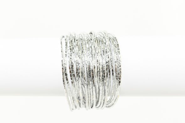 Crinkled Metallic Faux Leather Magnetic Bracelet