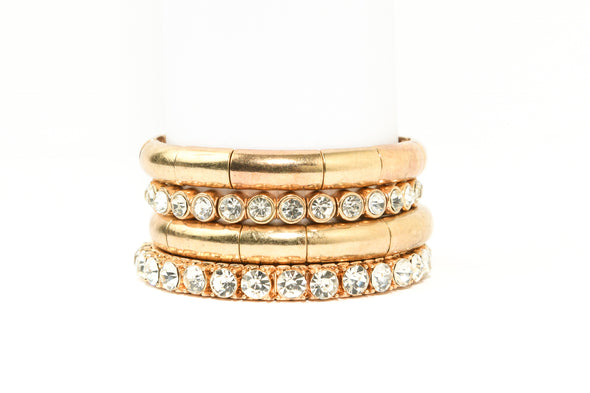 Set of 4 Rhinestone and Metal Stretch Bracelets
