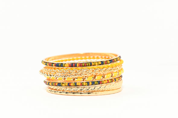 Set of 9 Seedbead and Enamel Mixed Bangle Bracelets