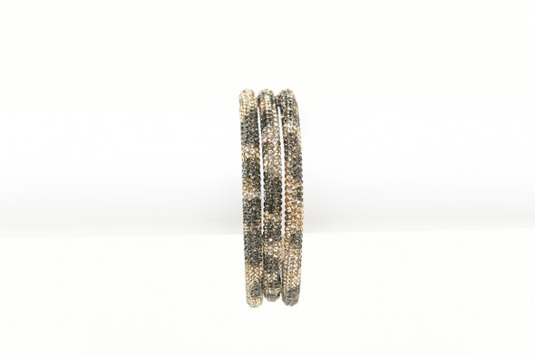 Ribbon Tied Set of 3 Leopard Rhinestone Bangles