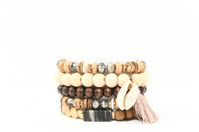Set of 5 Wood and Shell Beaded Stretch Bracelets
