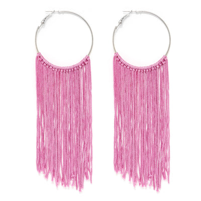 Pink Thread Tassel Statement Hoop