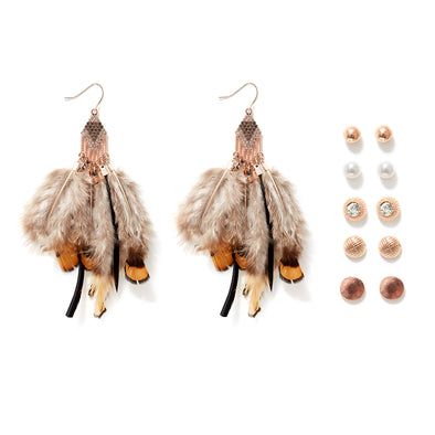 Bohemian Feathers Set of 6 Earrings