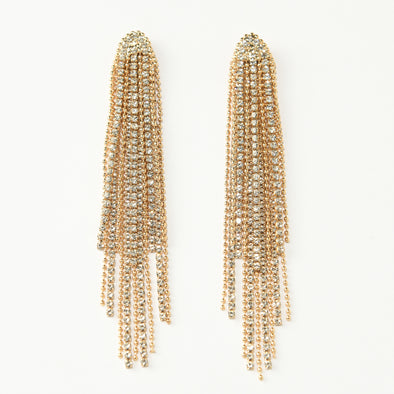 Statement Rhinestone and Chain Fringe Occasion Earrings