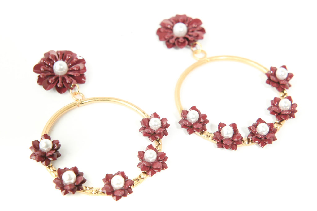 Flower Open Doorknocker Earrings