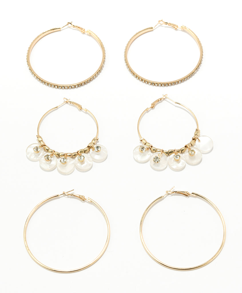 Fashion and Resin Large Hoop Trio Set