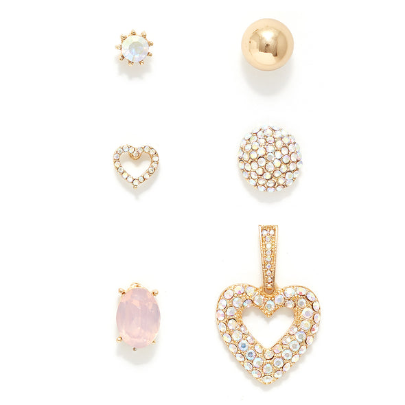 Hearts Desire Set of 6 Stud Earrings
