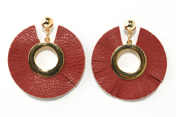 Fanned Out Faux Leather Statement Earrings