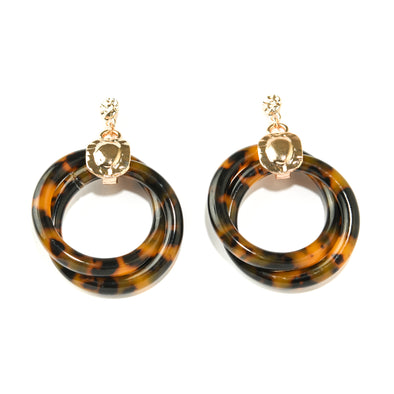 Intertwined Faux Tortoise Resin Earrings