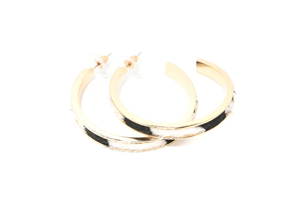 Faux Leopard Calfhair Inset Hoops