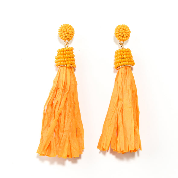 Raffia Tassel Statement Earrings