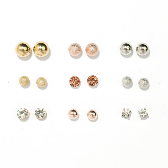 Set of 9 All the Basics Stud Earrings