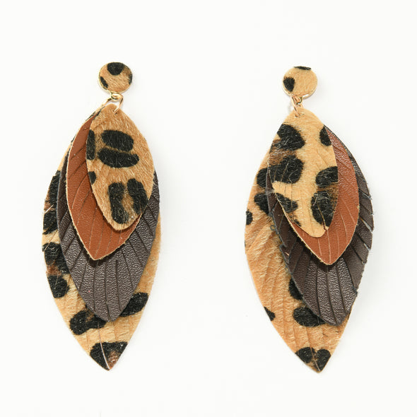 Layered Leopard and Faux Leather Earrings