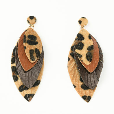 Layered Leopard and Faux Leather Earring