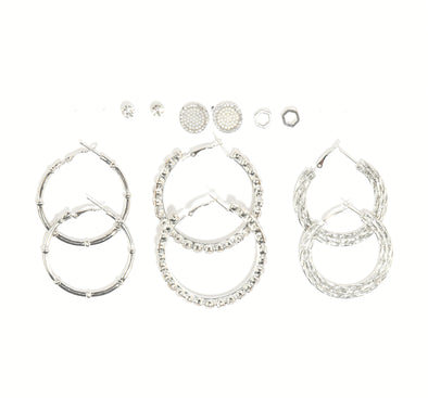 Hoops and Studs Set of 6 Earrings