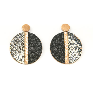 Colorblocked Round Faux Snakeskin Drop