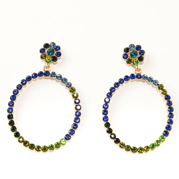 Rhinestone Post Doorknocker Earring