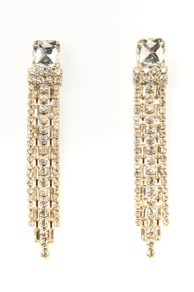 Post with Rhinestone Fringe Occasion Earrings