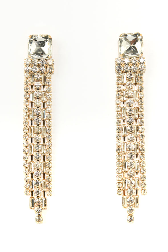 Post with Rhinestone Fringe Occasion Earring