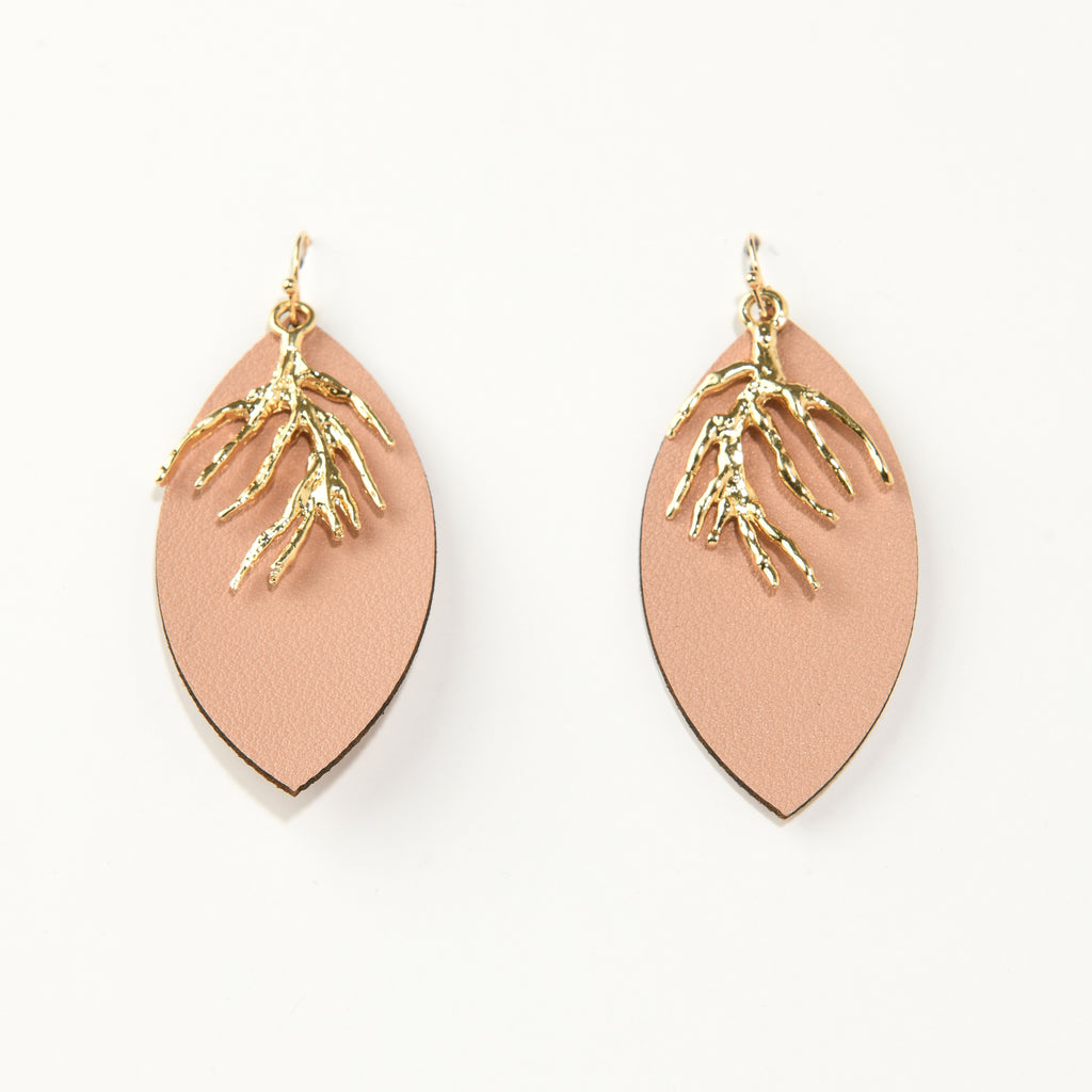 Organic Metal with Faux Leather Drop Earrings