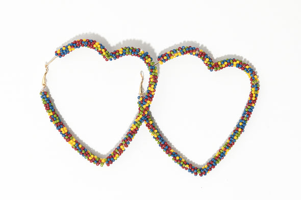 Heart Shaped Seedbead Hoops