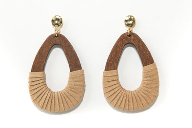 Wood and Suede Teardrop Earrings