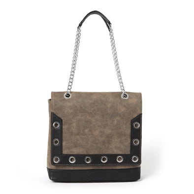 Grommet Embellished Flap Shoulder Bag