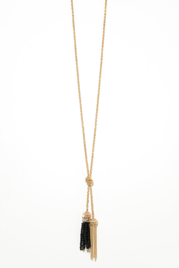 Knotted Tassel End Long Pendant