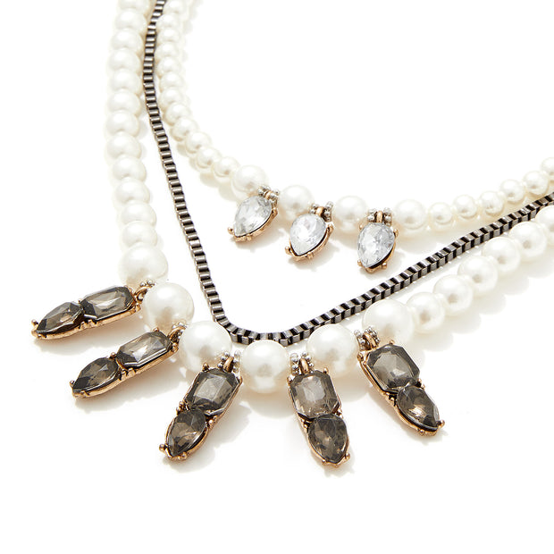 Faux Pearl and Hematite Stone Layered Necklace