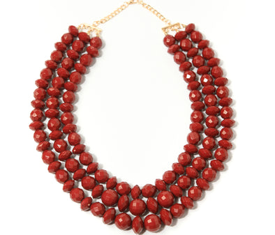 Triple Row Faceted Bead Collar