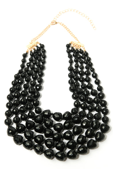Multi-Row Faceted Beads Collar