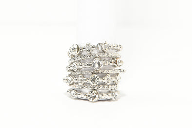 Set of 7 Rhinestone and Textured Metal Rings