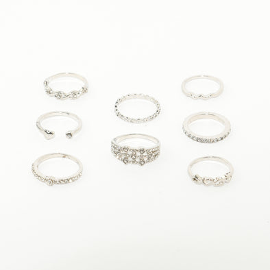 Set of 7 Hearts and Rhinestone Rings